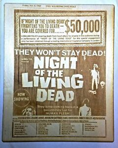 Night of The Living Dead 1968 Engraved Wood Classic Horror Movie Poster Zombies