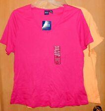 2 NWT BASIC EDITIONS Women's 2X Solid Plain Cotton T-Shirts Pink Yellow Orange
