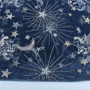 Stars Pegasus Embroidery Net Mesh Fabric Dance Wedding Dress Making Sold BY YARD