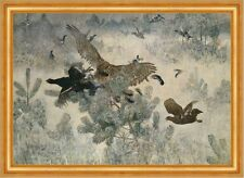 Hawk and Black-Game Bruno Liljefors faucon chasse forêt oiseaux animaux B a3 00901