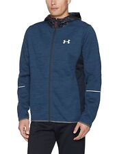 Under Armour Mens Storm Patterned Swacket Jacket Hooded Sz Small Blue Coldgear