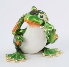 Frog hear no evil by Keren Kopal Austrian Crystal Jewelry box Trinket box