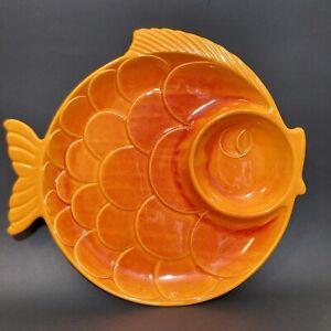 Vintage Royal Haeger Orange Fish Serving Tray Dish Plate 856HUSA Goldfish