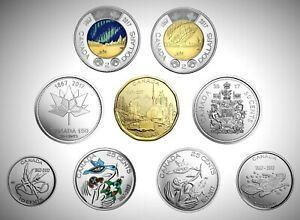"""2017 Canada 150 """"My Canada My Inspiration"""" Complete Colourized 9 Coin BU Set!!"""