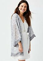 Maurices~New With Tags~Light Blue Floral Crochet Trim Kimono Ruanna ~Size XXL