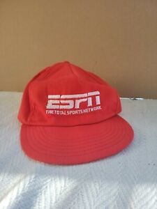 Vintage 90's ESPN  Baseball Hat Cap snap back Red with White Letters usa