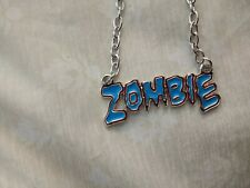 Blue Zombie Letters Metal Chain Necklace Pendant Goth Rockabilly Punk Horror New