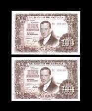 F.C. PAREJA CORRELATIVA 100 PESETAS 1953 , SERIE 3U , S/C .