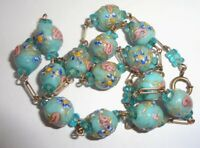 Antique Robins Egg Wedding Cake Lampwork Venetian Murano Glass Beaded Necklace