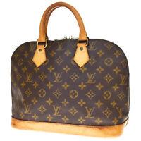 Authentic LOUIS VUITTON Alma Hand Bag Monogram Leather Brown M51130 65MC863