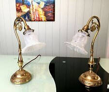 Two Vintage Bedside Table Lamps /Antique Opalescent Glass Shade / Brass Base