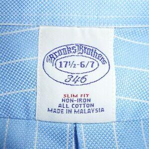 17 1/2 - 36/37 Brooks Brothers ROYAL OXFORD Slim Fit Non-Iron Mens Dress Shirt