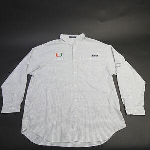 Miami Hurricanes Columbia Button-Up Men's White/Checkered Used
