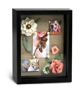 """8x10"""" Black Wood Shadow Box Frame with Natural Linen Backboard"""
