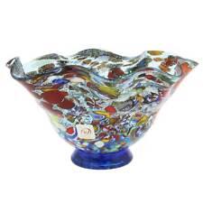 GlassOfVenice Murano Glass Millefiori Fazzoletto Bowl - Silver Aqua