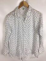 UNITED COLOURS OF BENETTON Bluse, weiß, Größe S, 100% Baumwolle