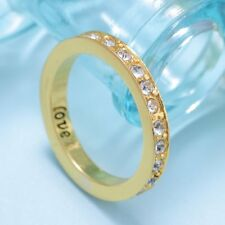 Fashion Love White Crystal Gem Charm Poesy Ring Yellow Gold Filled Engraved #7