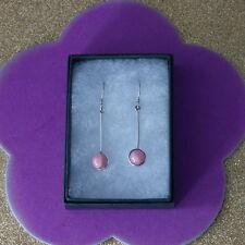 Beautiful Silver Earrings With Rhodonite 3.3 Gr. 3.5 Cm.Long + Hooks In Gift Box