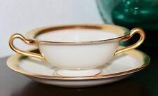 Lenox China Cream Soup Cup Saucer 633 - 86 1/2 GOLD BAND Davis & Hawley