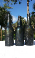 """LOUISIANA 1860'S  ANTIQUE """"SEA-WASHED"""" BLACK GLASS BEER BOTTLE ACCENT PIECES!"""