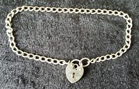 Sterling silver vintage Art Deco antique padlock chain bracelet