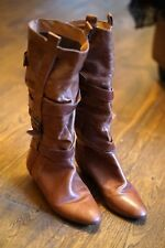 River Island Knee High Long Leather Boots Tan Brown Buckles size 6 39 Low Wedge