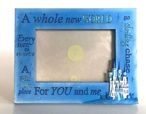 "NEW Disney Parks Aladdin Jasmine /""Whole New World/"" Blue Wooden 4 x 6 Photo Frame"