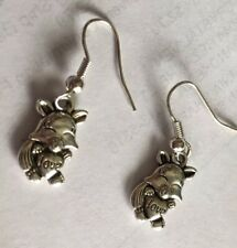 Fox Charm Earrings,fox Holding Heart Love , Animal Wildlife Coyote Wolf Hyena