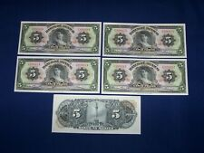 Lot of 5 Bank Notes from Mexico 5 Pesos Issued 1961 Uncirculated