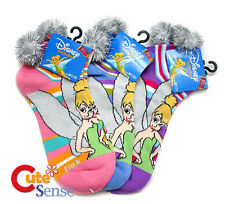 Disney Tinkerbell Faires Anklets Socks 3 Piar Set with Furry Ball Size 9-11
