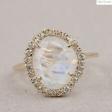 2.12 Ct. Blue Moonstone Gemstone Cocktail Ring Diamond Solid 14k Yellow Gold NEW
