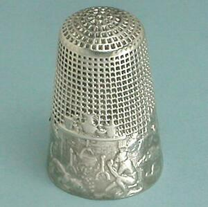 Antique Silver Monkey & Cat Fable Thimble * French * Circa 1900s