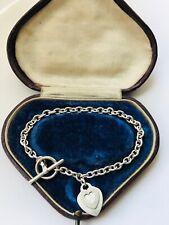 Sterling Silver Double Heart TBAR Bracelet 14.16gr