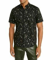 INC Mens Shirt Black Gold Size Medium M Button Down Confetti Foil $49 163