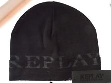 REPLAY Made In Italy Black Cuff BEANIE Toque Hat UNISEX Mens