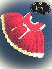 100% Wool Strawberry-pink Shortcake Baby Dress - Hand Crochet