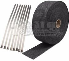 "Civic 2"" x 50' Protection Header Exhaust Heat Wrap Black with 8 Steel Ties"