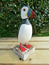 More details for fair trade hand carved made wooden puffin wild bird ornament sculpture large