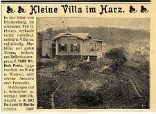 Immobilien im Harz Kleine Villa in der Nähe von Blankenburg Histor. Annonce 1899