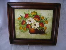 Original Textured Oil Palette Knife Painting Of Flowers In A Vase Signed