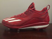 NEW! Adidas Boost Icon 2.0 Size 12 Metal Baseball Cleats Red/White (B72823)