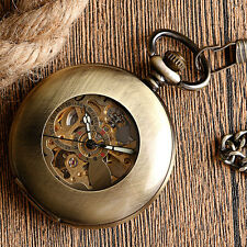 Vintage Smooth Case Copper Skeleton Automatic Mechanical Pocket Watch Chain Gift