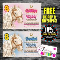 Personalised Birthday Invitations Horse Riding Pony Party x 5
