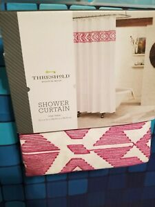Threshold Shower Curtain 72 X 72 Pink Tribal 100% Cotton Embroidered F18
