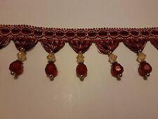 BORTE mit Perlen Quasten für Gardine / Lampe zum nähen Rotfarbig **NEU**