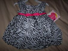 NWT YOUNGLAND White Black Pink Animal Print Bubble DRESS sz 4T