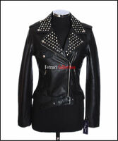Veronica Black Ladies Studded Biker Style Retro Fashion Lambskin leather Jacket