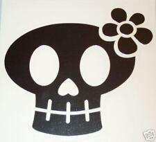 """Surf Board Surfing Sticker, Skull w/ flower, 5""""x5"""""""
