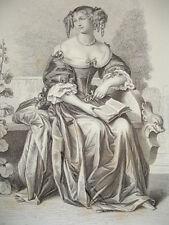 SIÈCLE DE LOUIS XIV / GRAVURE 1840 / Mme DE LAFAYETTE