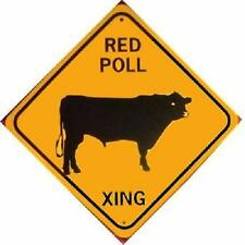 Red Poll Xing Aluminum Cow Sign Won't rust or fade